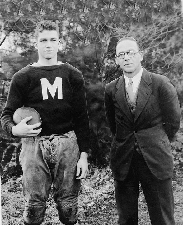 "<div class=""ch"">Robert F. ""Pap"" Foster; faculty member and coach 1920-1943; with Richard M. ""Bunny"" Burnes '35</div>"