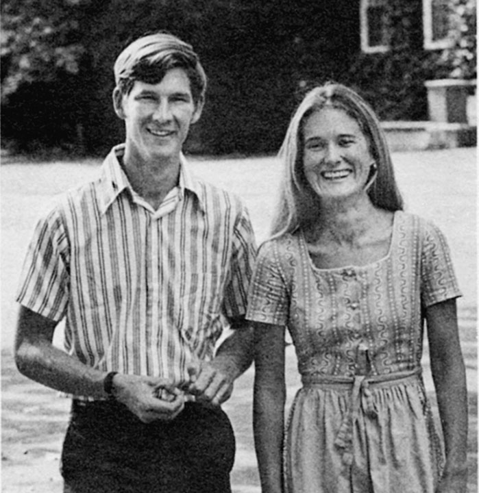 "<div class=""ch"">Jim Saltonstall, faculty member of 39 years and Bridget Saltonstall, first Head of House for girls</div>"