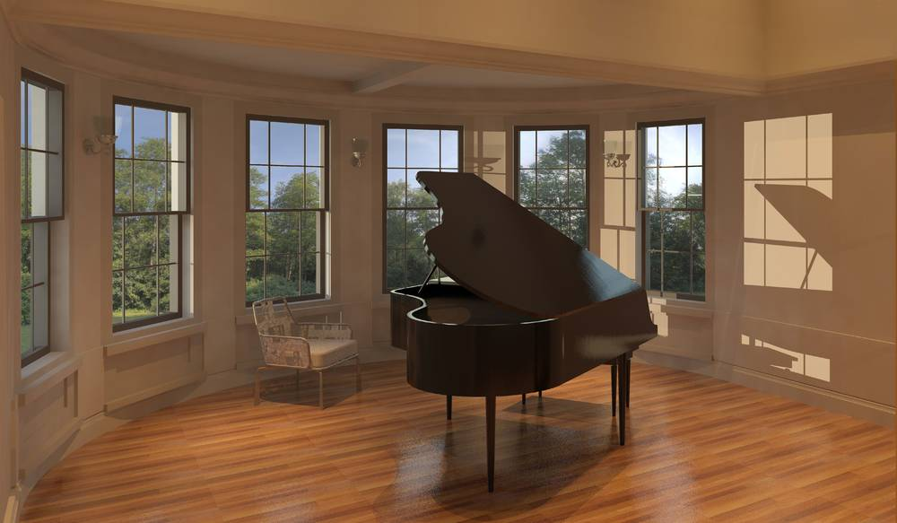 "A piano studio, with an amazing view, fulfills Beau Coash's P '11 '14 vision that ""students who are in the building for classes might get inspiration from seeing another student who is performing."""