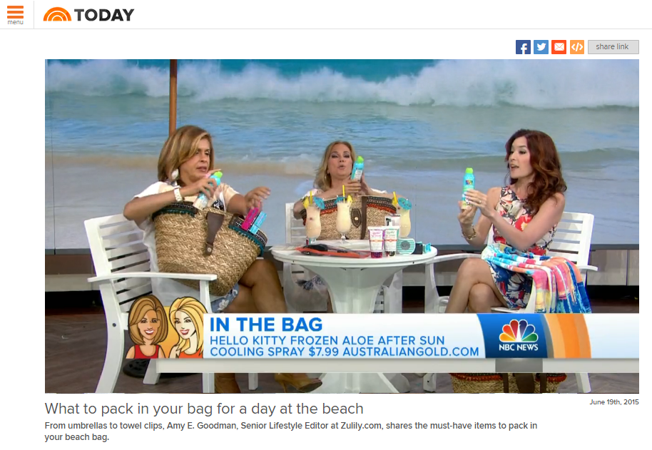 Today show features our new Hello Kitty Frozen Aloe After Sun product made by Australian Gold. Watch the clip  here . Our product comes in around minute 4.