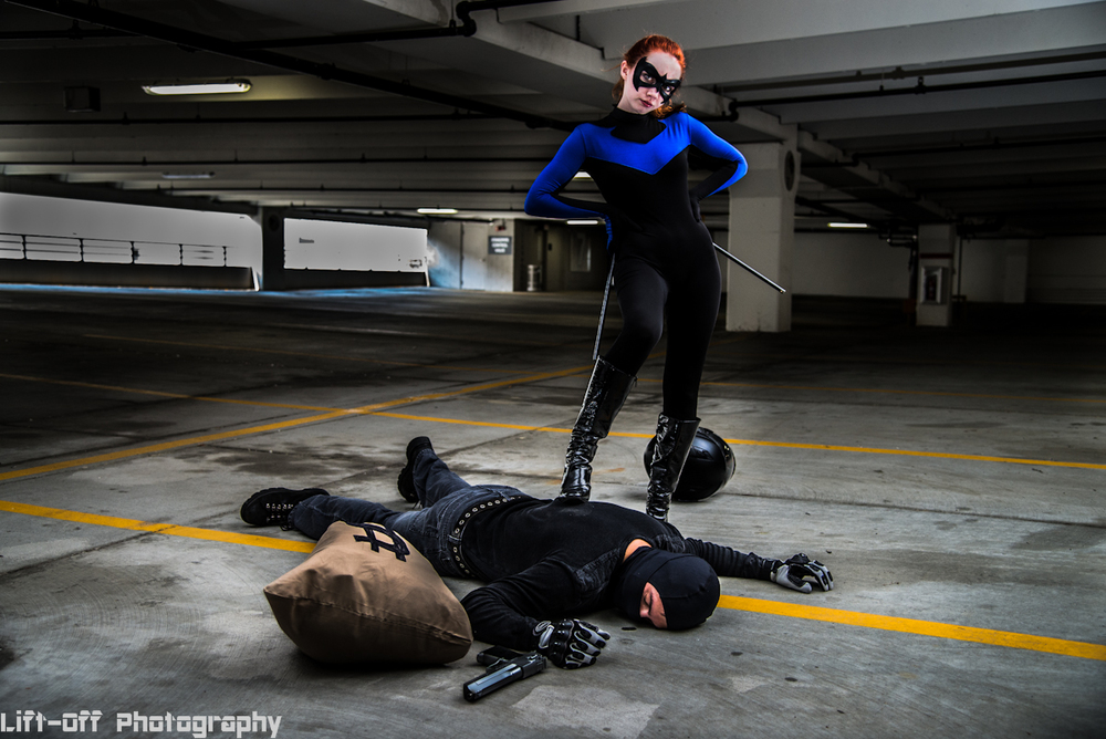 Nightwing inspired - Shot on location in Charlotte, NC - Cosplayer Hyperactive Hero