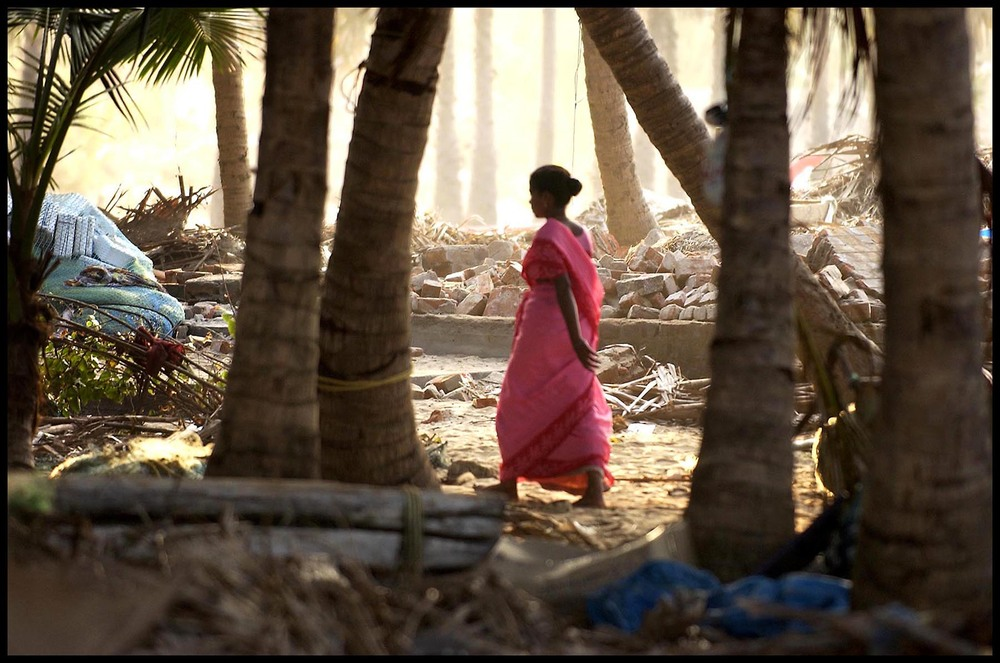 "Destroyed homes and damage near India's shoreline after ""Christmas Tsunami,"" 2005"