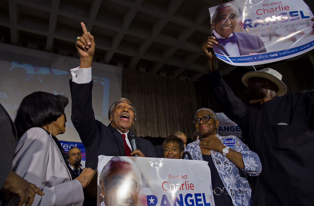 Rep. Charlie Rangel wins primary, 44th year in office, Harlem, 2014