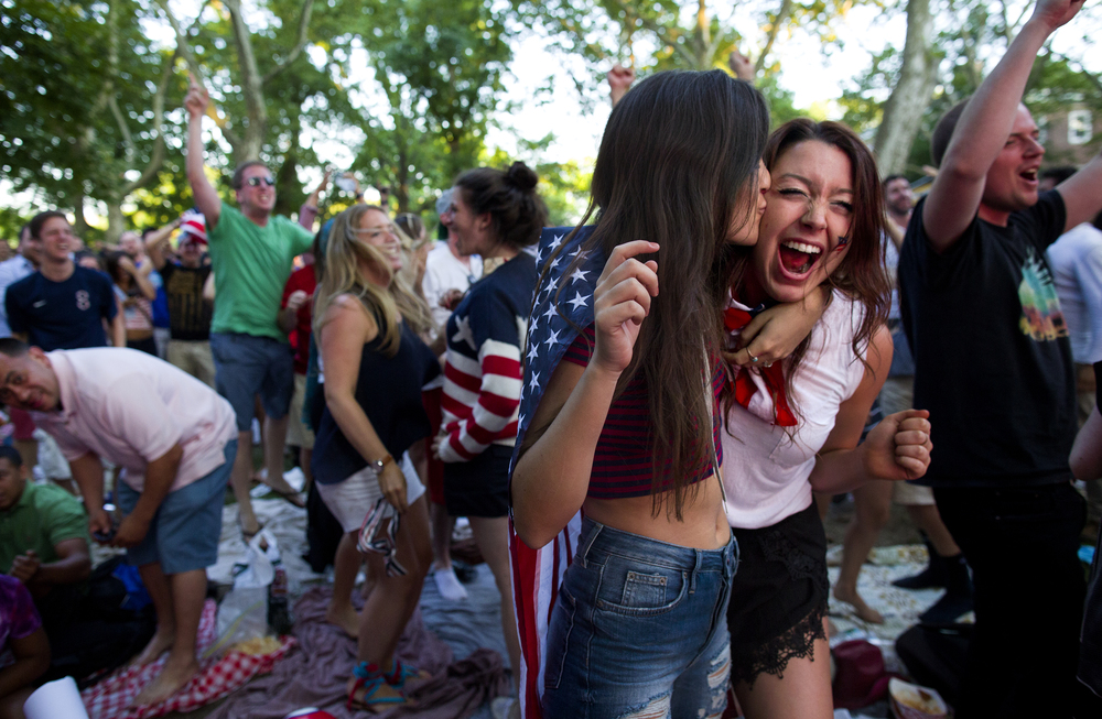 Celebrating a US goal, World Cup viewing party, Governor's Island, 2014