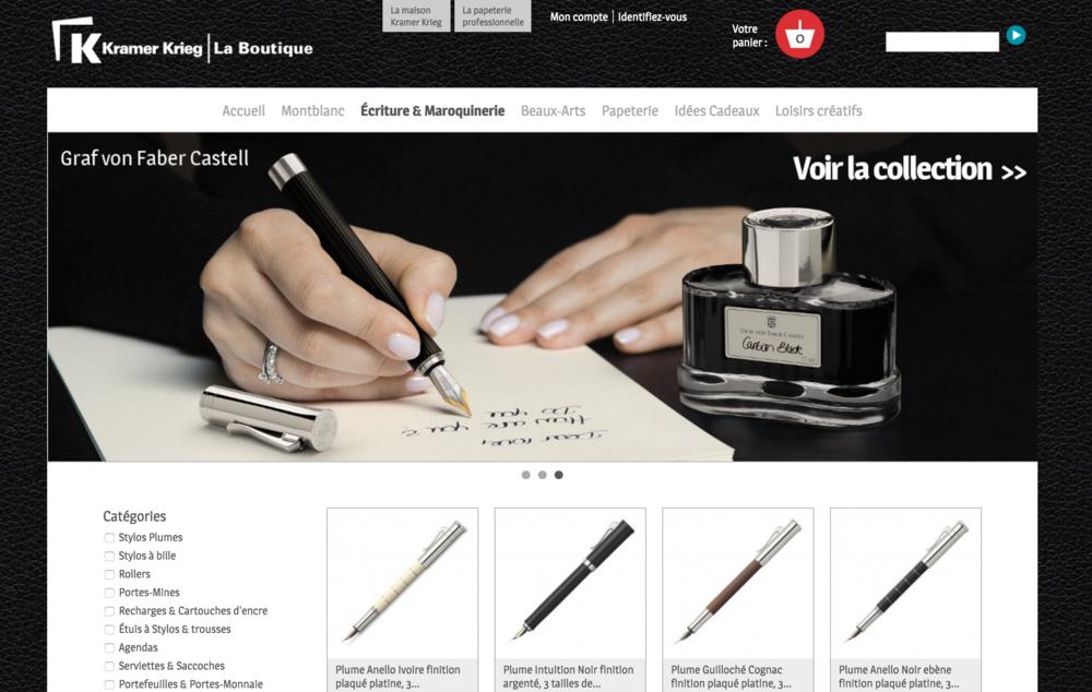 Boutique en ligne développée en prestashop pour la papeterie Kramer Krieg
