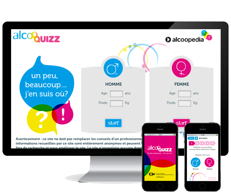 Alcooquizz - CHUV   >   Design d'un site et d'une application mobile pour la prévention #iphone #android #symfony #gamification #jeu #design