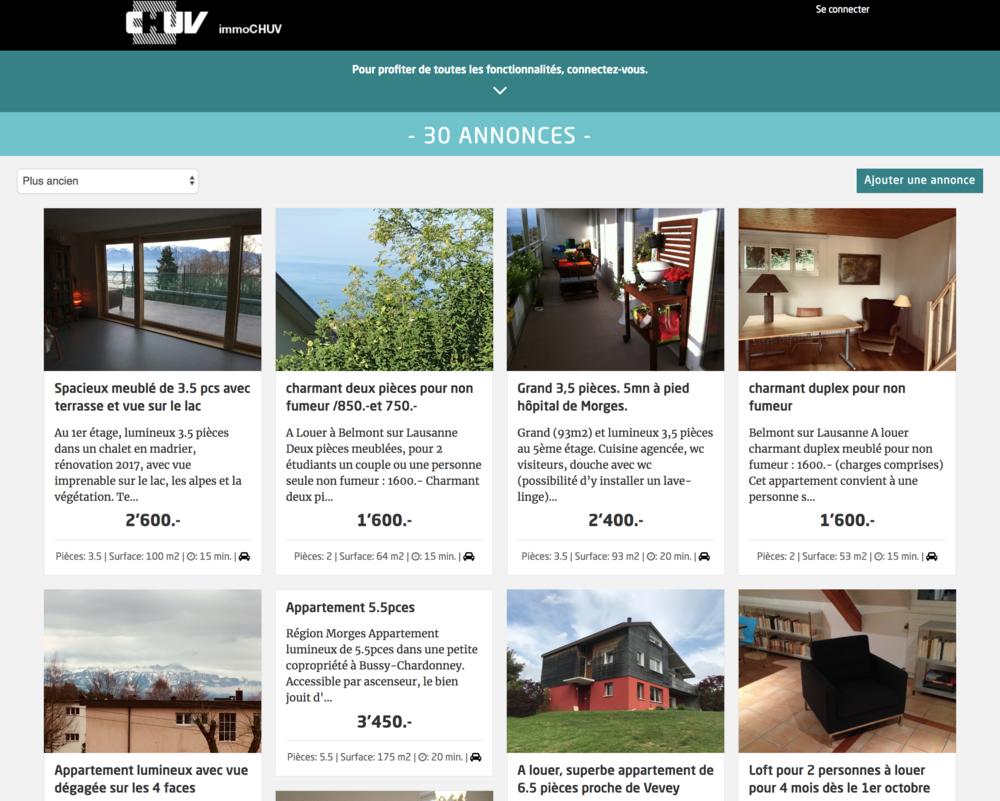 Site de petites annonces pour la gestion du patrimoine immobilier du CHUV et des annonces exclusives pour les collaborateurs