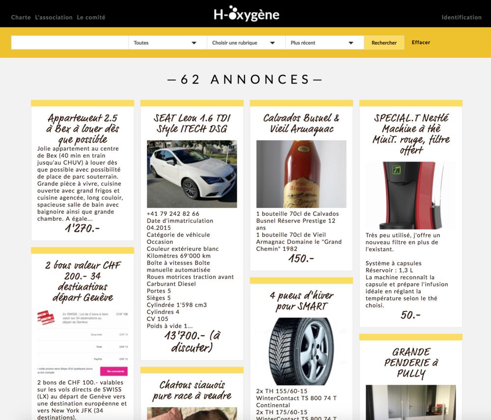 Module de petites annonces intégrées au site H-Oxygène permettant aux collaborateurs de l'organisation de partager leurs bons plans