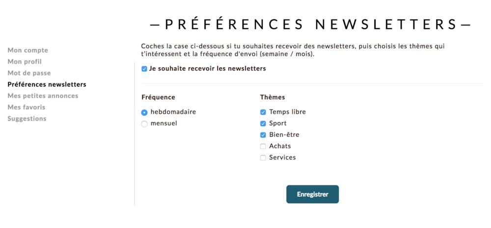 Possibilité de définir ses préférences pour la réception des newsletters