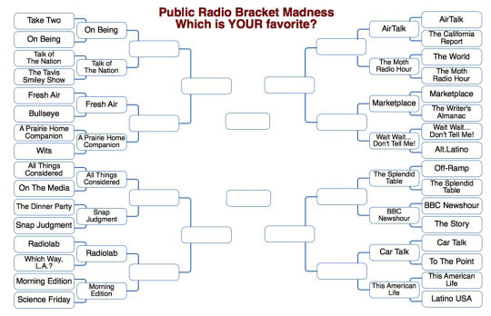 moth-stories :     Good game, The World! Well played.    Round two of the Public Radio March Madness is go!      This American Life vs Car Talk looks to be a wild one, but you gotta figure The Moth walks all over AirTalk.  I like Snap as an underdog against ATC, and you love to see a pair of veterans like Prairie and Fresh Air lock horns—America's ears win either way as far as that one is concerned.      How…is this being decided exactly?   Vote here!