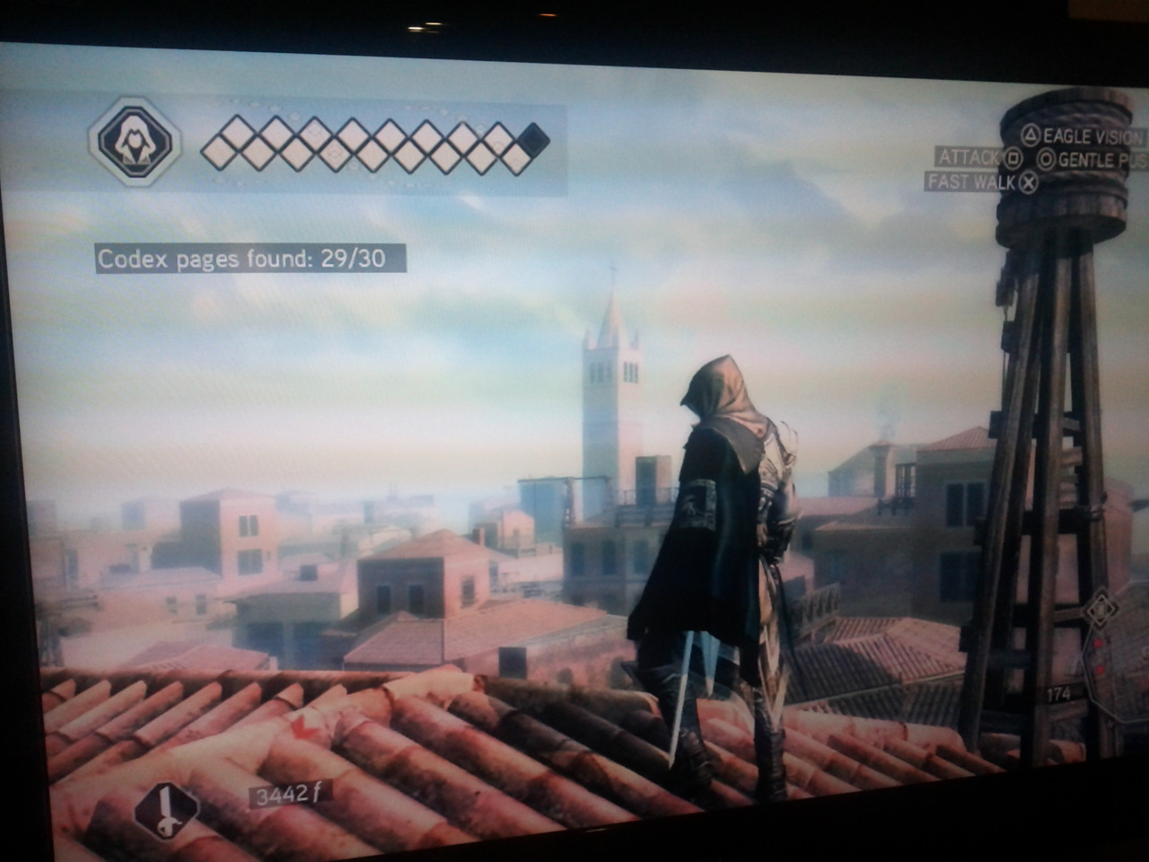 With 29 of 30 codex pages found, the solitary assassin paused for a moment to ponder the quiet majesty of the evening haze settling across the rooftops of Venice.    In a related story, I didn't get any work done tonight.