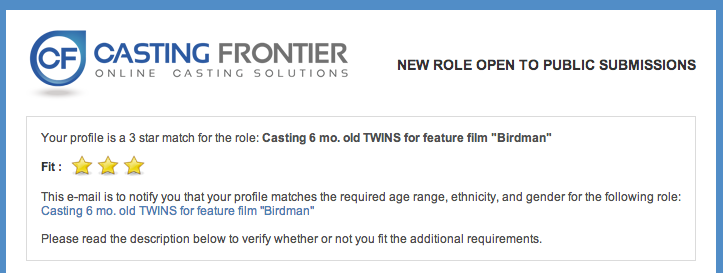 """I don't actually have a profile at Casting Frontier, but even if I did, I have a hard time believing I'm a """"3 star match"""" for this role. If anyone from CF is reading this: it would appear the ol' algorithm needs a tweak, fellows."""