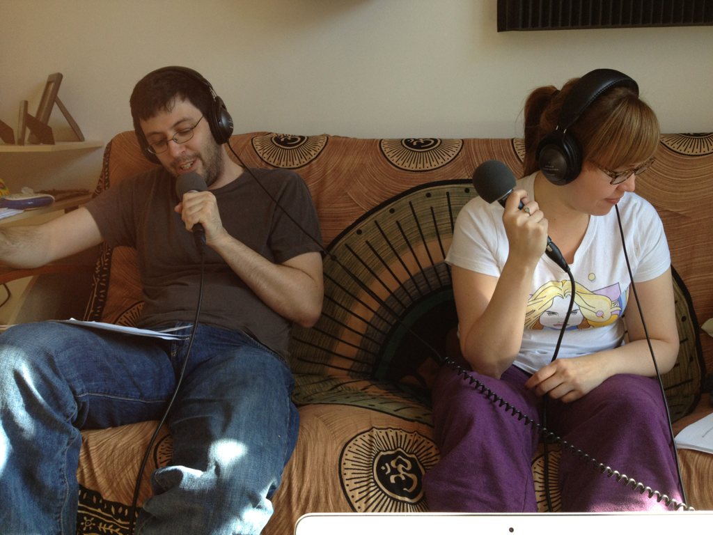 Look!  It's Ben and Lorraine recording audio for this week's installment of Sketchy Thursday.