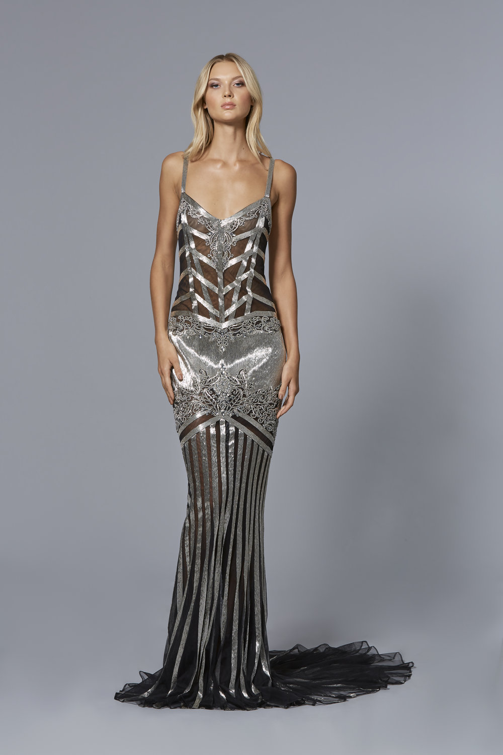 CLAUDIO CINA   LOOK 3:  Embroidered Tulle Gown in Gunmetal Bugle Beads & Crystal Stones