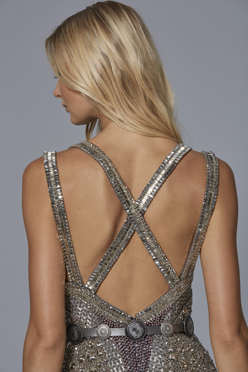 CLAUDIO CINA   LOOK 1: BACK VIEW  Embroidered Tulle Dress in Gunmetal Crystal Stones & Pearls With Leather Medallion Belt