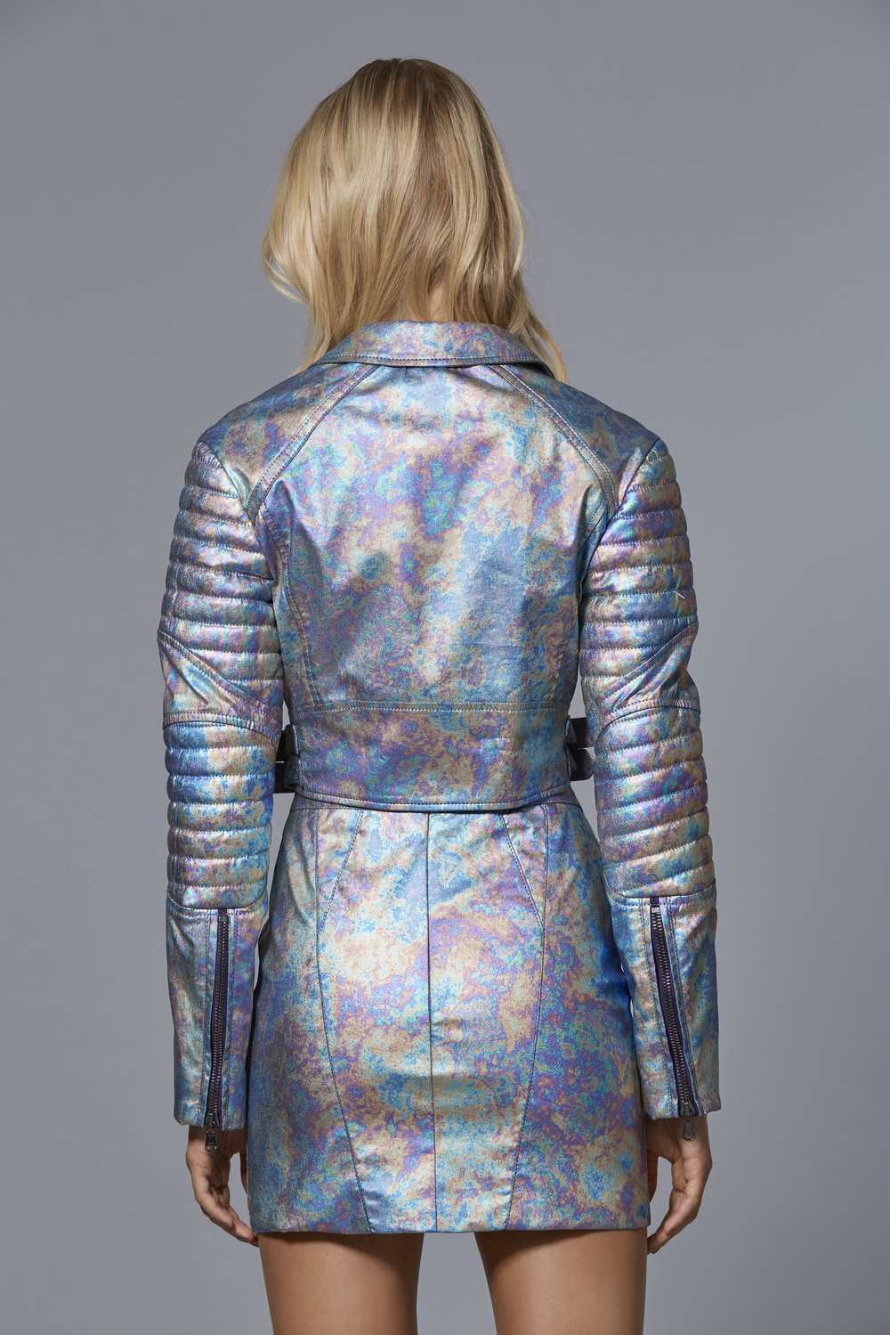 CLAUDIO CINA   LOOK 5: BACK VIEW  Metallic Vegan Leather Biker Jacket  Metallic Vegan Leather Mini Skirt