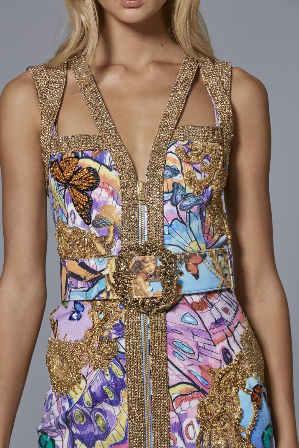 CLAUDIO CINA   LOOK 7:  Neoprene Mini Dress with Embroidered Psychedelic Butterfly Print & Matching Belt with Baroque Metal Buckle