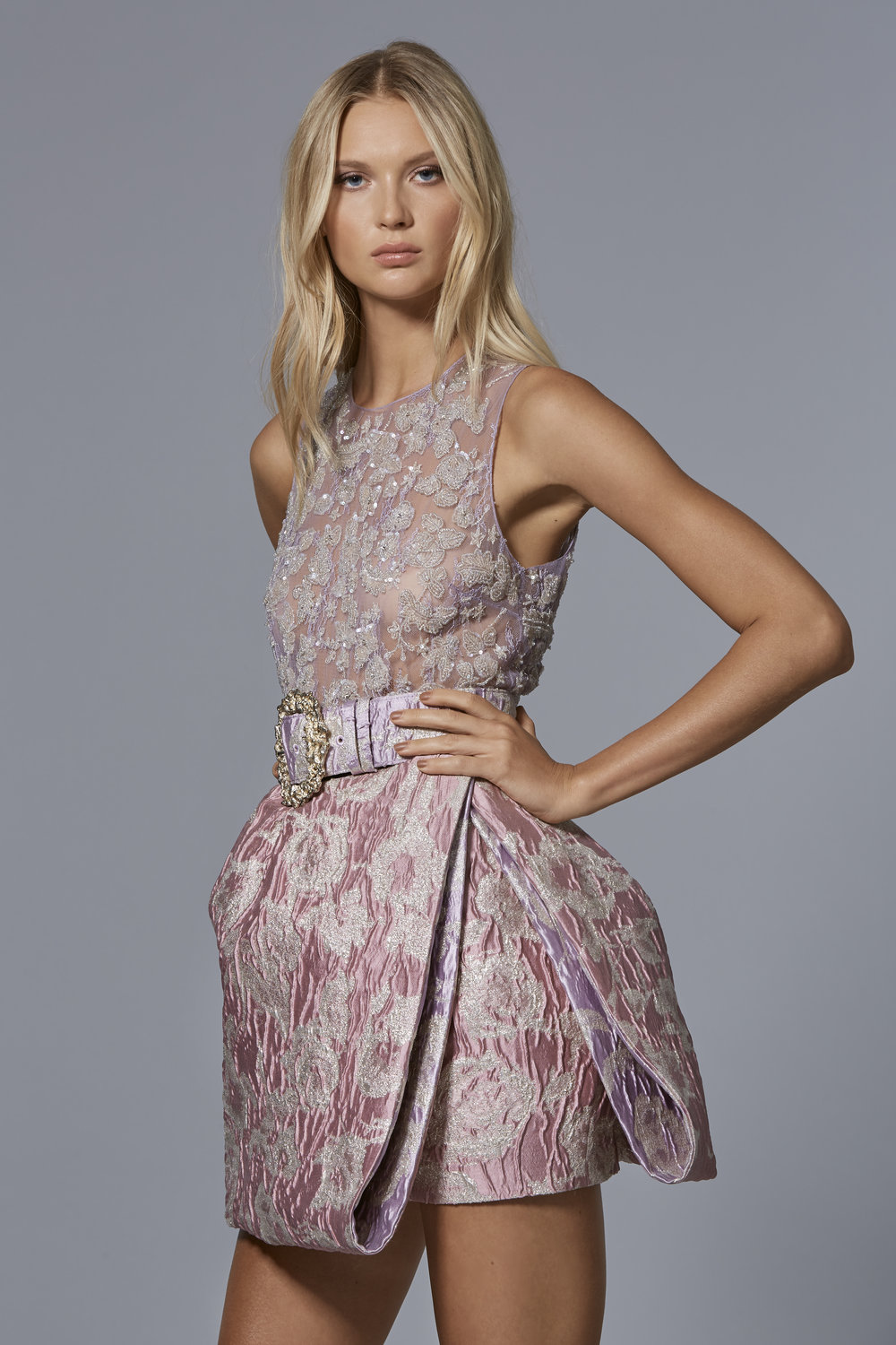 CLAUDIO CINA   LOOK 10:  Metallic Jacquard Dress with Tulle Embroidered Top & Matching Belt with Baroque Metal Buckle