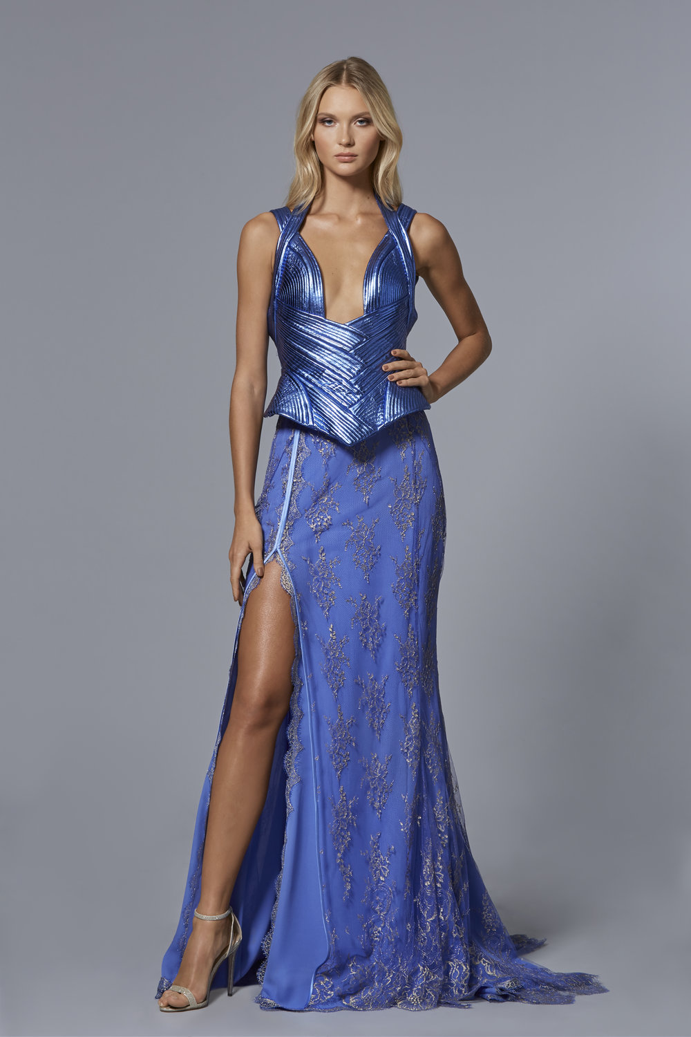 CLAUDIO CINA   LOOK 13:  Metallic Leather Corset with Trapunto Stitching  Metallic Lace Floor Length Skirt with Front Slit