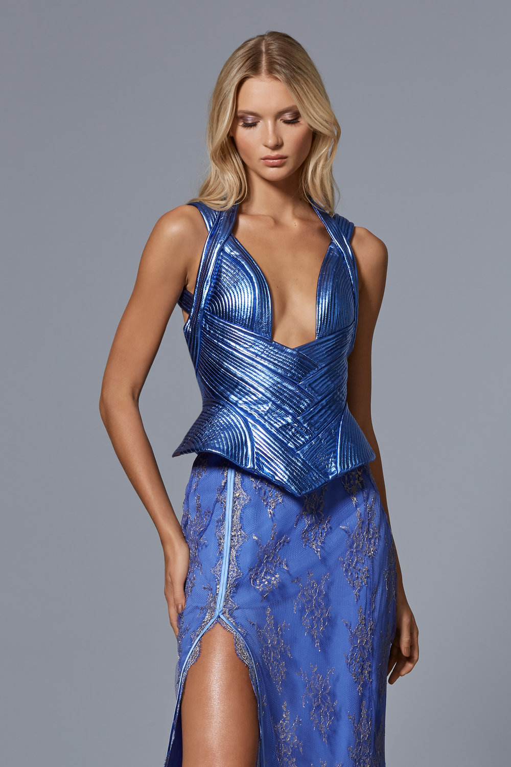 LOOK 13:  Metallic Leather Corset with Trapunto Stitching  Metallic Lace Floor Length Skirt with Front Slit