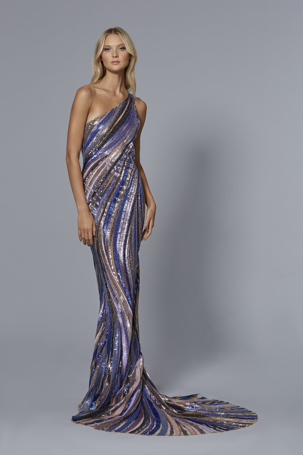 LOOK 14:  One Shoulder Embroidered Tulle Floor Length Gown