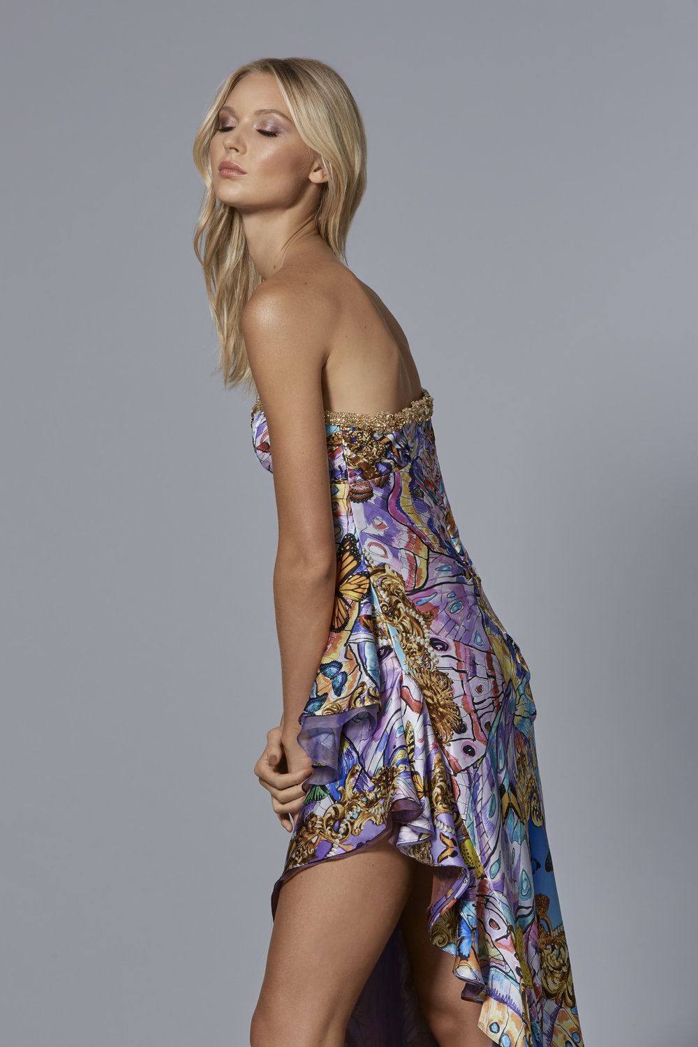 CLAUDIO CINA   LOOK 11:  Psychedelic Butterfly Printed Gown With Chiffon Layered Skirt & Crystal Embroidered Neckline