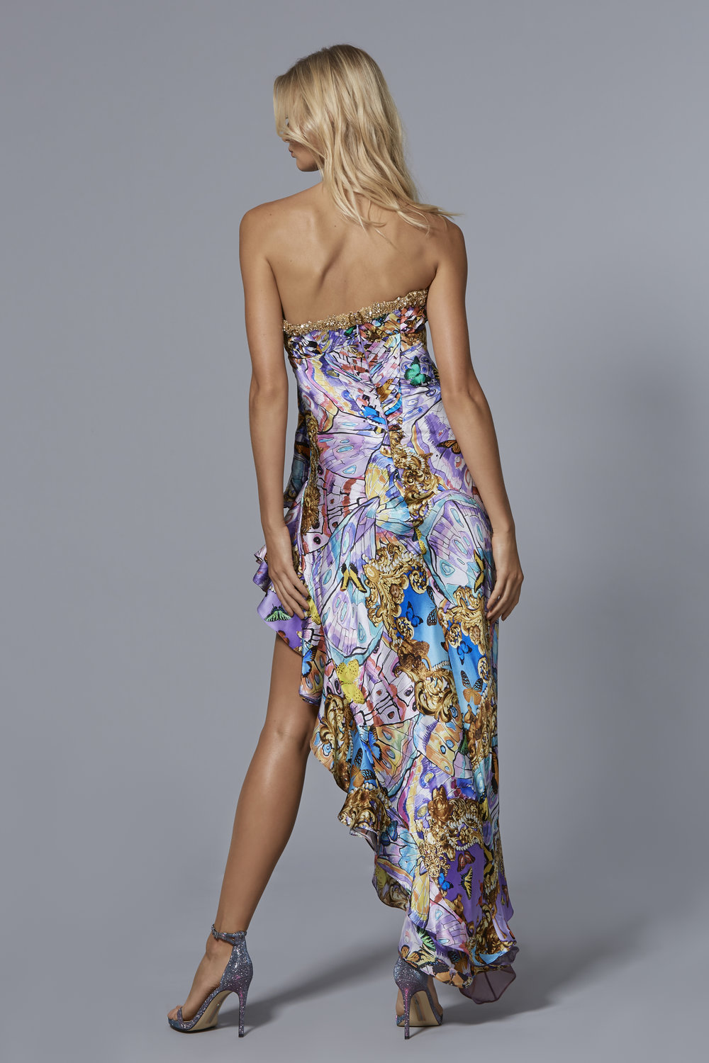 CLAUDIO CINA   LOOK 11: BACK VIEW  Psychedelic Butterfly Printed Gown With Chiffon Layered Skirt & Crystal Embroidered Neckline