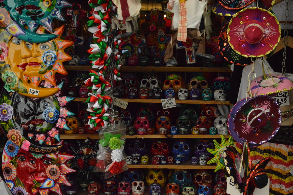 Items for sale on Olvera Street adjacent to the Avila Adobe, a museum managed by California State Parks