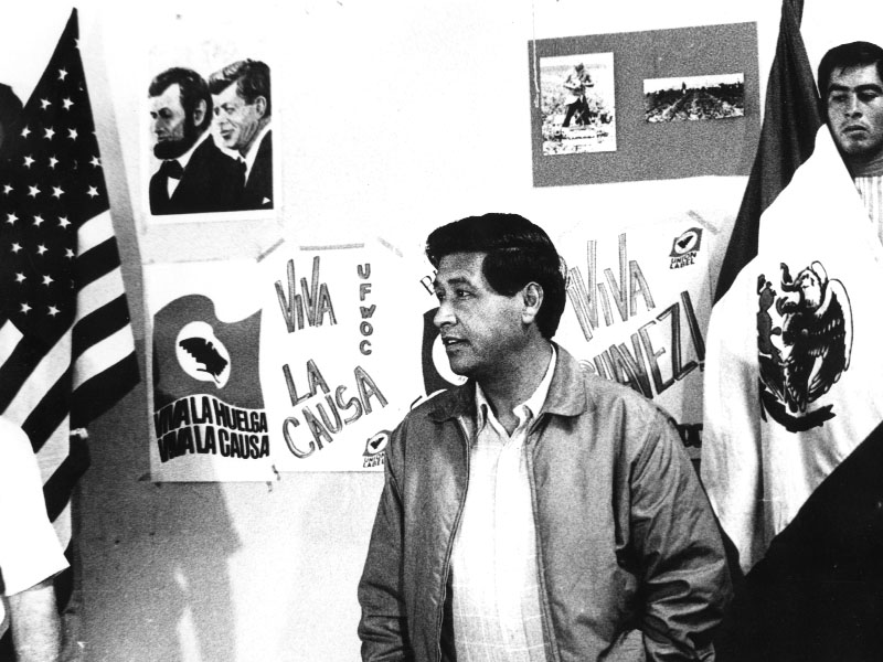 Cesar E. Chavez attends a meeting to organize California farm workers in the fight for farm worker rights, Photo courtesy of the Cesar Chavez Foundation
