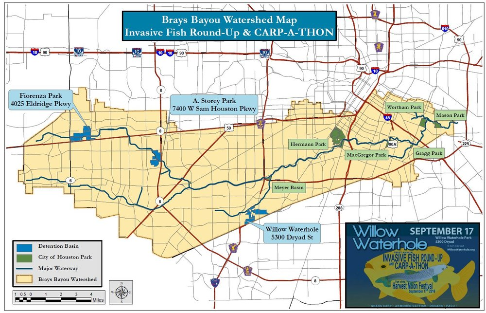 Brays Bayou Watershed Map for Carp-A-Thon JPEG.JPG