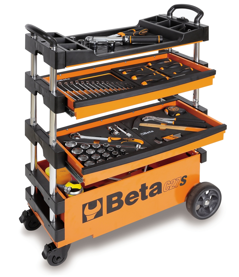 we are now offering these rolling and folding tool carts from beta utensili this is a simple and well chosen addition to any trackday or racing pit