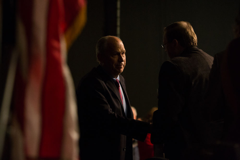 Alaska Governor Elect Bill Walker shook hands with members of the Resource Development Council of Alaska at the 35th Alaska Resources Conference held at the Dena'ina Center in Anchorage, Alaska on Thursday, November 20, 2014.