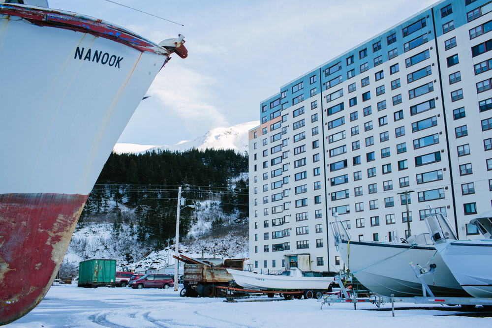 The majority of the less than 300 residents of Whittier, Alaska live in one building, the Begich Tower.