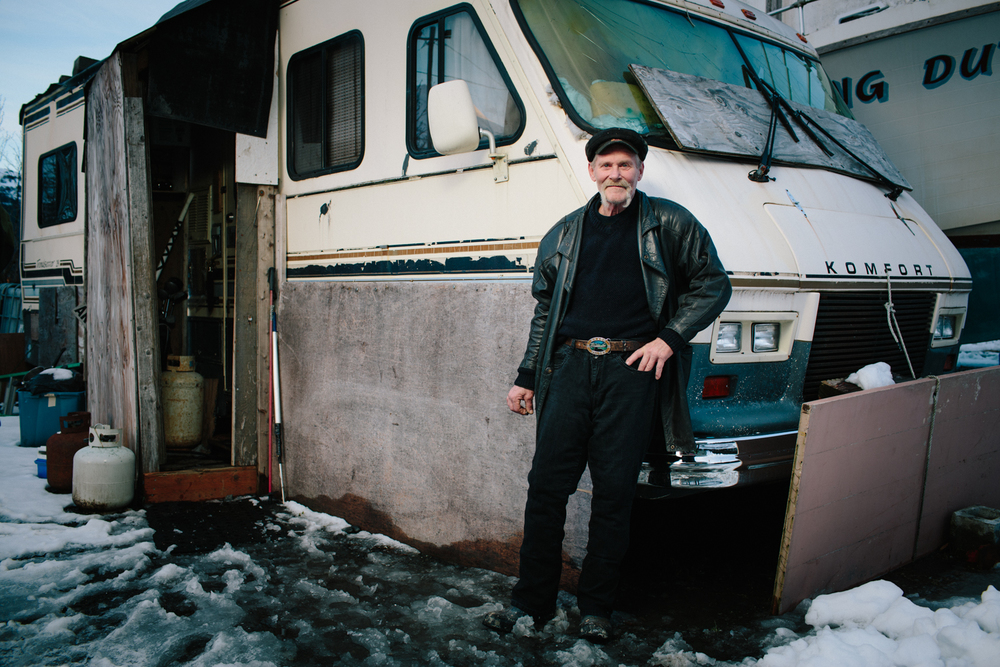 "Paul Frederickson is one of the few residents of Whittier who doesn't live in the Begich building. He stays in an RV parked behind the Anchor Inn, the only bar and restaurant in Whittier open year round. Of his RV, Paul said, ""It ain't goin' nowhere."""