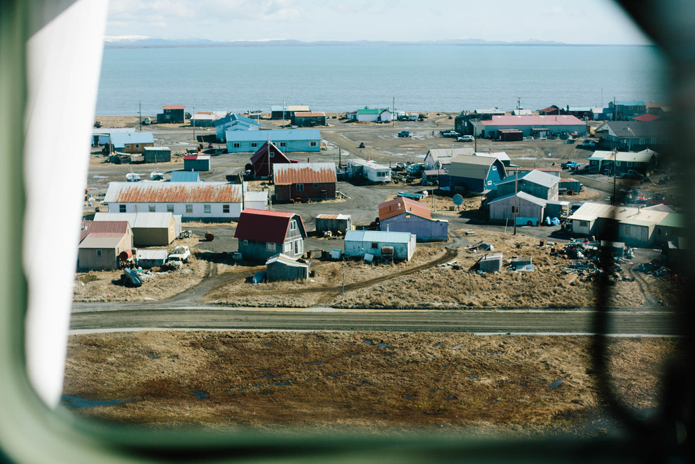 The town of Togiak, situated on the coast of Bristol Bay in Southwestern Alaska.