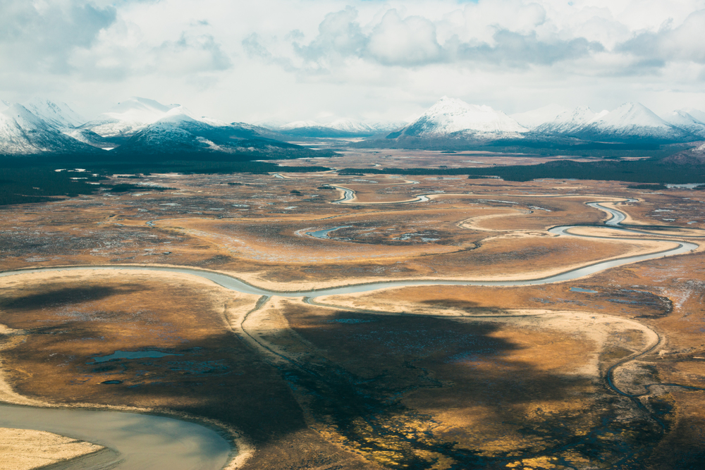 The Togiak National Wildlife Refuge, viewed from the air just East of Togiak, shows evidence of the winter's limited snowfall. Assignment for Newsweek.