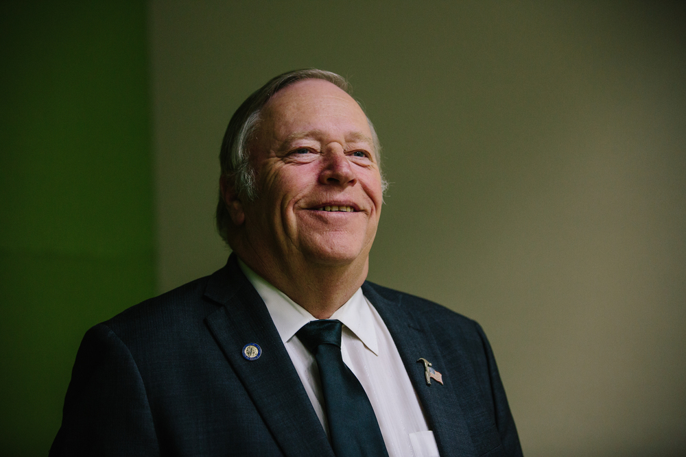 Alaska State Legislature House of Representatives Speaker Mike Chenault - R, of Nikiski, photographed at the Denaina Center in downtown Anchorage, Alaska on December 17, 2015.