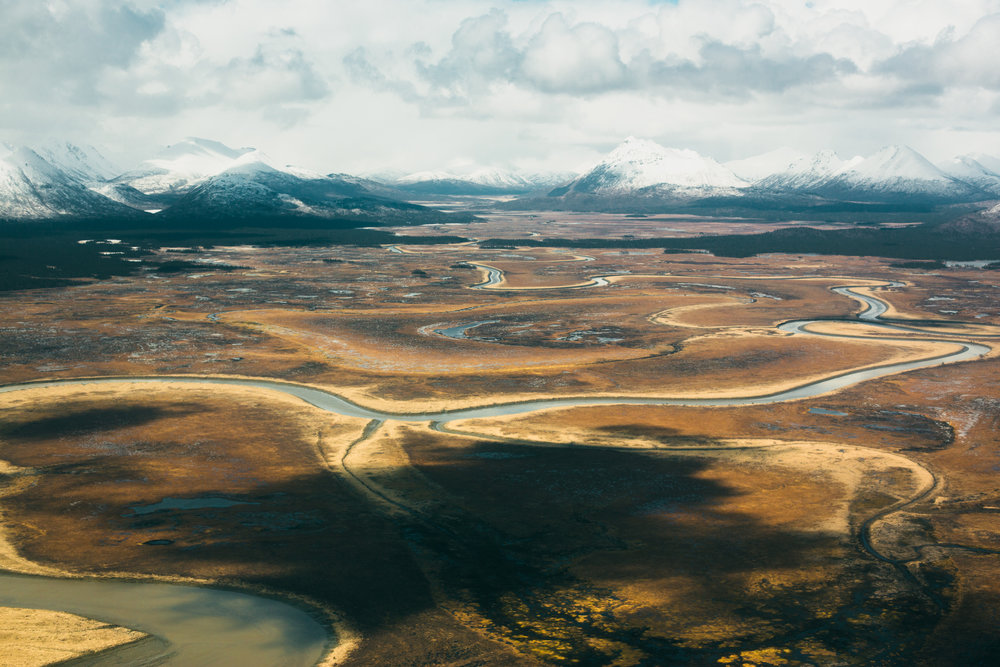 The Togiak National Wildlife Refuge, viewed from the air just East of Togiak, shows evidence of the winter's ('14/'15) limited snowfall. On Assignment for Newsweek.