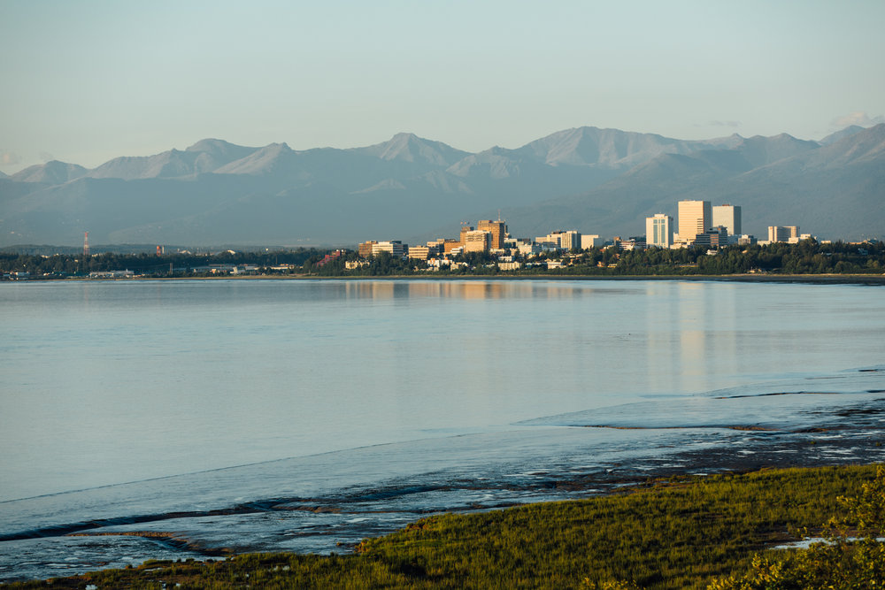 Downtown Anchorage, Alaska viewed from the Tony Knowles Coastal Trail.