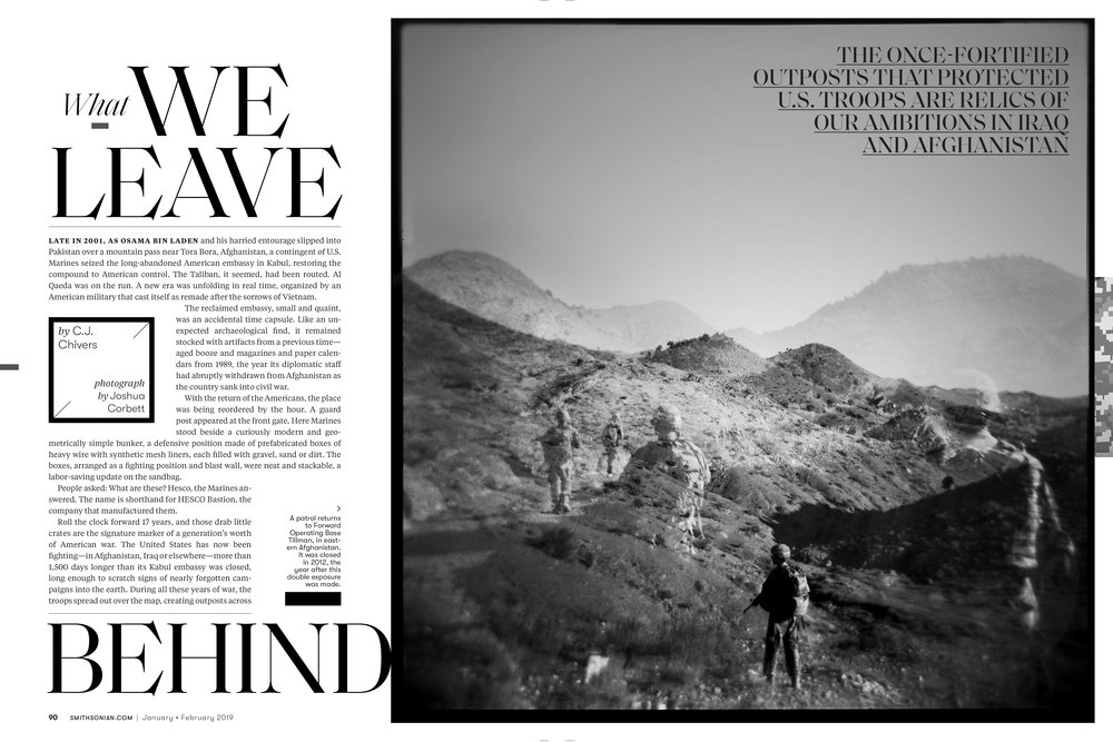 An archive image used for a 2019 Smithsonian Magazine article about the physical remains of America's longest war. Double exposure made on film with a plastic Holga camera in 2011 in Paktika Province, near the border with Pakistan.