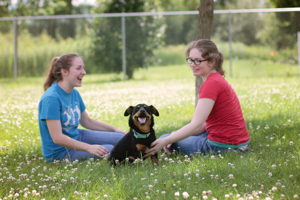 Two girls with dog in dog park