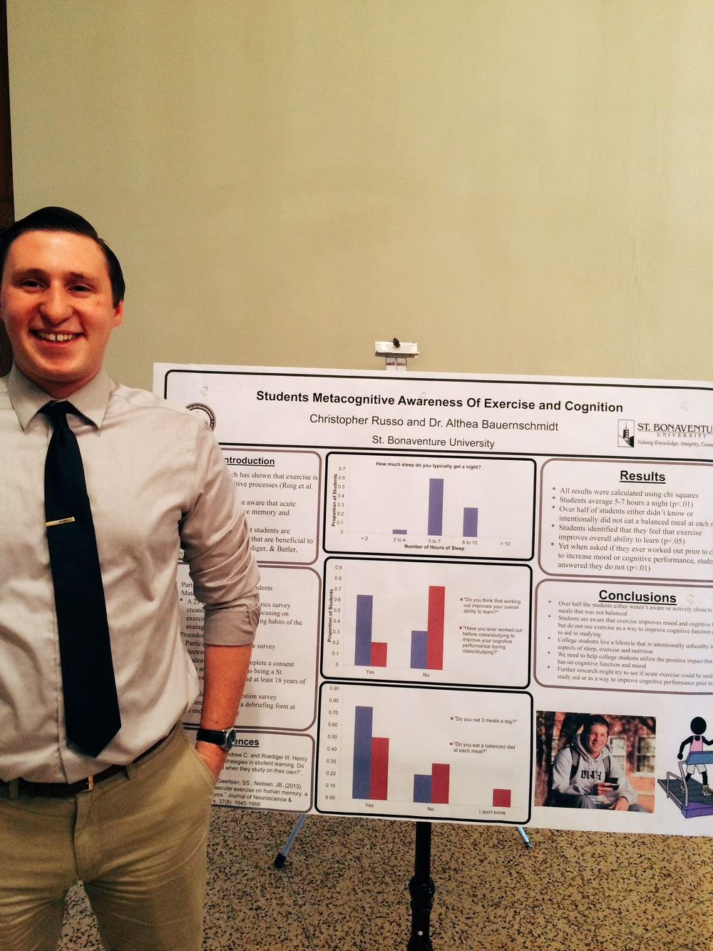 "Senior Christopher Russo presents research with Dr. Althea Bauernschmidt on ""Students Metacognitive Awareness of Exercise and Cognition"""