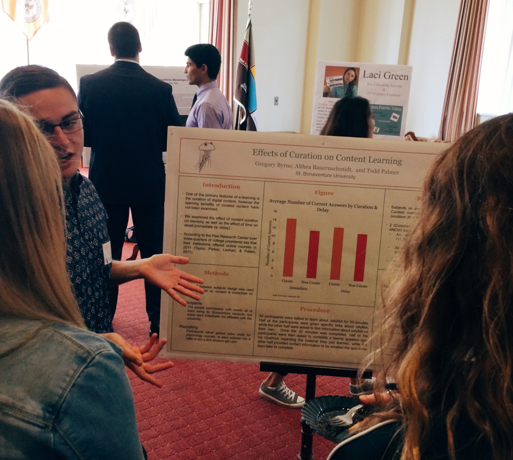 "Senior Gregory Byrne presents research with Dr. Althea Bauernschmidt on ""Effects of Curation on Content Learning"""