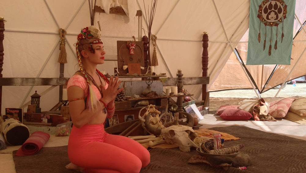 Teaching yoga at Burning Man (Raised x Wolves, BRC, 2014)