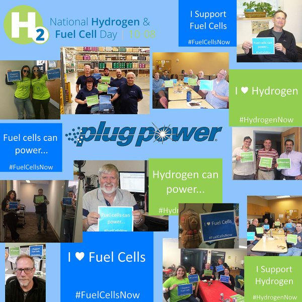 Plug Power Employee Collage of hydrogen and fuel cell posters in 2015