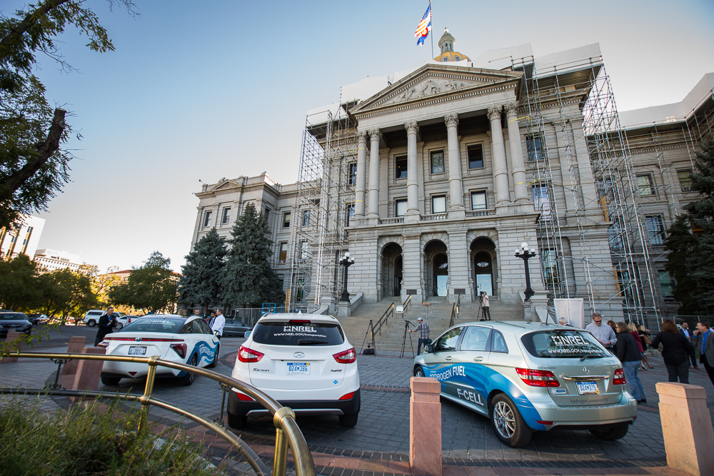 Three different FCV's in front of Colorado State Capitol Building in Denver