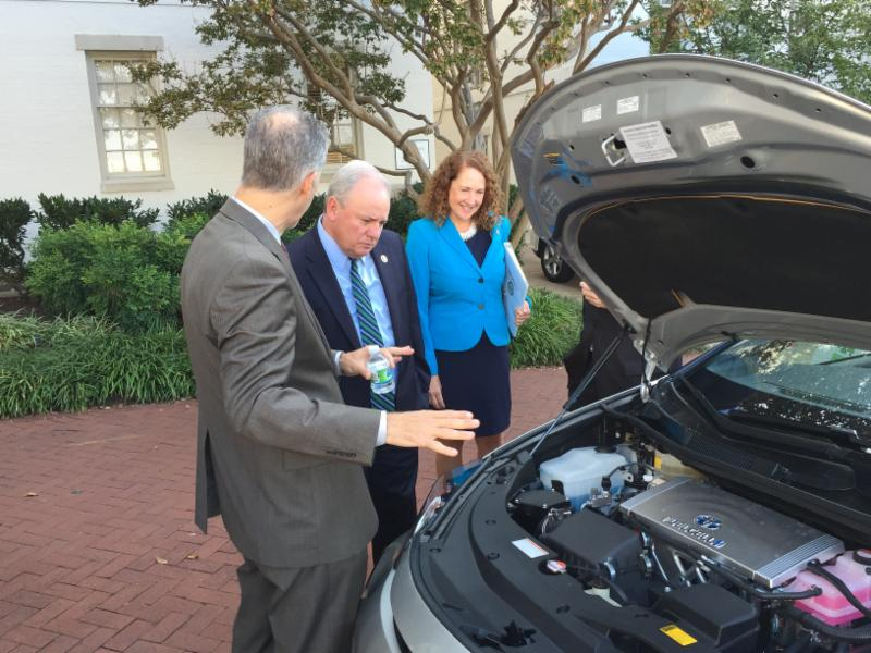 Toyota's Robert Wimmer with Representatives Michael Doyle (D-PA) and Elizabeth Esty (D-CA)