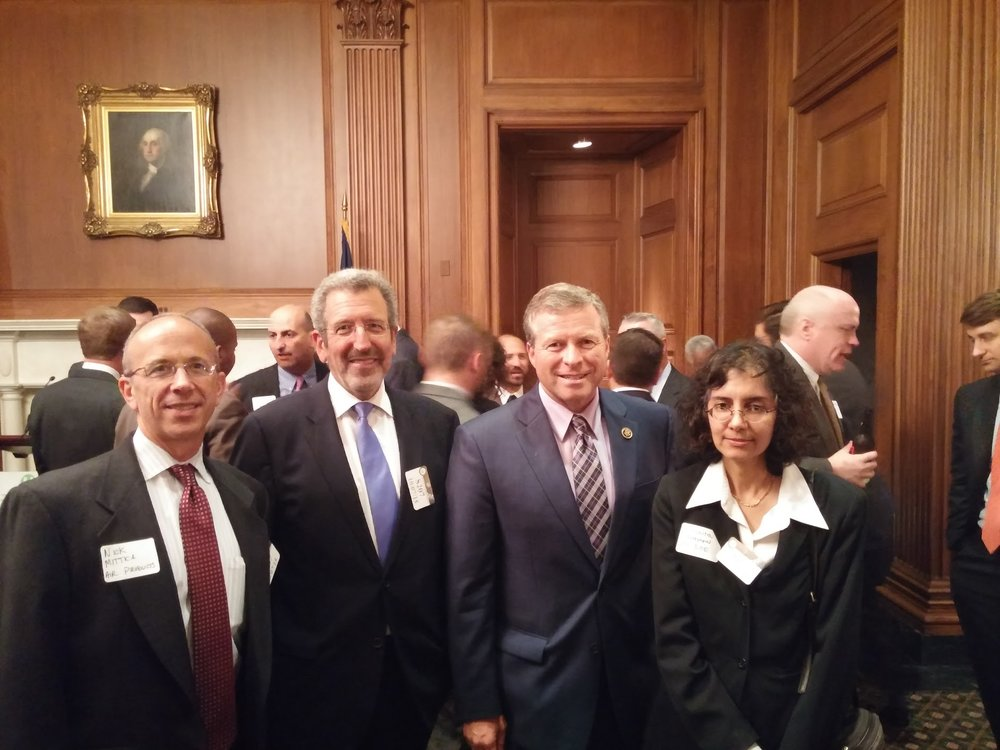 From right to left: Dr. Sunita Satyapal, Director of the Department of Energy's Fuel Cell Technologies Office, Congressman Charlie Dent (R-PA), and FCHEA President Morry Markowitz at the reception on Capitol Hill.
