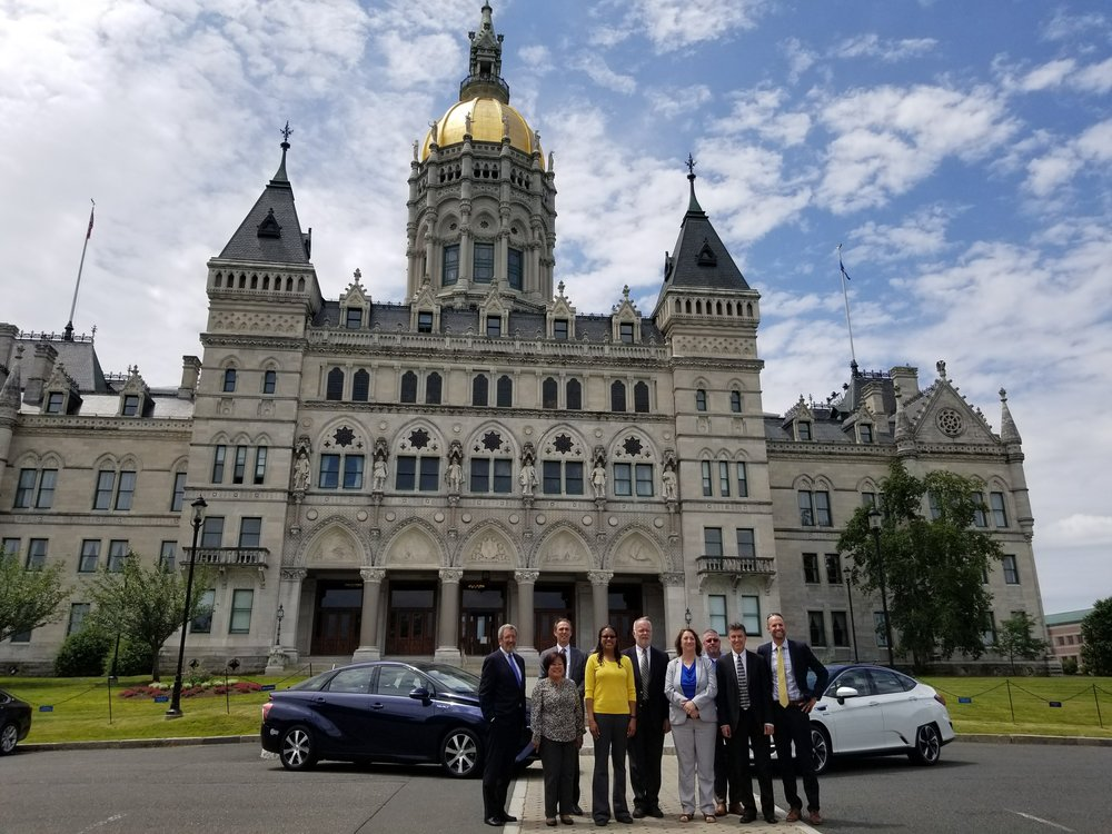 June 15: Outside the Connecticut State Capitol in Hartford, with the Honda Clarity and Toyota Mirai fuel cell vehicles on display.