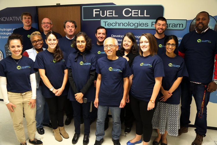 DOE Fuel Cell Technologies Office Staff celebrating National Hydrogen & Fuel Cell Day, October 8, 2016